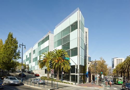 The 8 Octavia project sits at the corner of Haight Street and Octavia Boulevard in San Francisco – right where the demolished Central Freeway used to be. DDG and Stanley Saitowitz | Natoma Architecture.