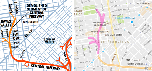 Several San Francisco freeways were damaged in the 1989 Loma Prieta earthquake. The Central Freeway bisected Hayes Valley. Left shows the old freeway, right shows a current map of San Francsico, with an overlay where the Central Freeway used to be.