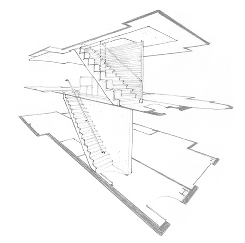This exploded view showing a three-story residence stripped down to the proposed stair and floor plan diagram was created by tracing over a computer-generated model (not shown). Image: Mark English Architects