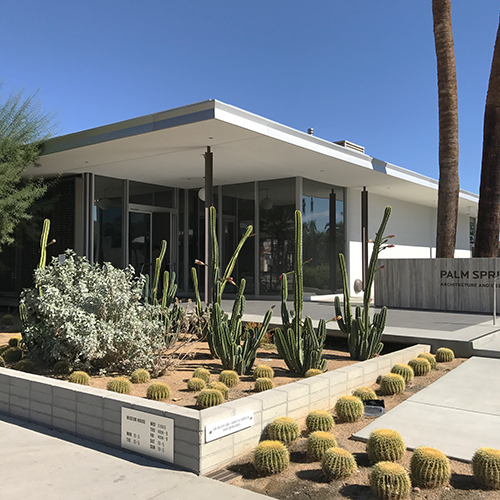 Entrance to the Palm Springs Architecture and Design Center. Succulents are ubiquitous in every landscape in Palm Springs. Image: Mark English Architects