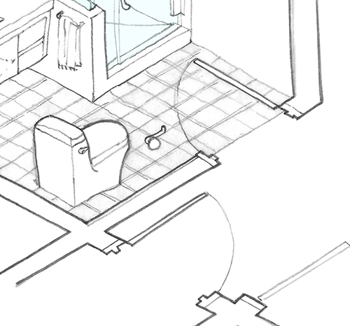 This particular close-up of the preceding drawing shows another trick: mixing 2D and 3D floor plans. In this case, the in-swing arc of the door at the bathroom entry is outlined on the floor. Image: Mark English Architects