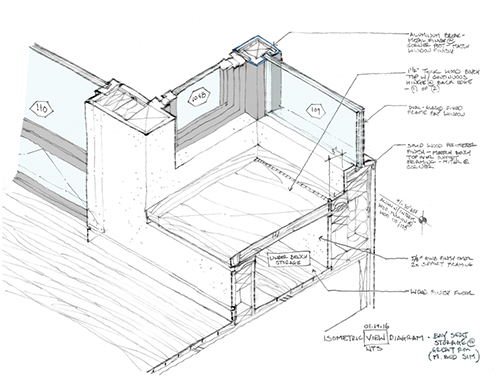 Isometric drawing of a seating nook. The storage bench has a hinged fold-out lid. Image: Mark English Architects