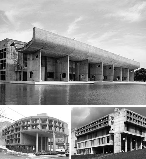 Modernist architect Le Corbusier pioneered the use of brise soleil in the earlier part of the 20th century. Shown clockwise from top: Palace of Assembly, Chandigarh, India, built 1962; Carpenter Center for the Visual Arts, Cambridge, MA, built 1963; Sainte Marie de La Tourette monastery in France, completed 1960. Note the deeply set windows, sheltered bottom story, and vertical fins.