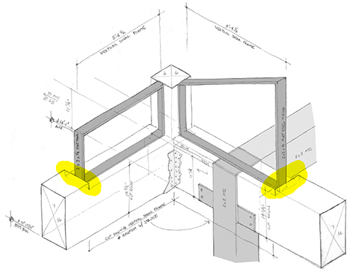 This isometric hand drawing is an examination of a somewhat complex corner, where clearstory windows come together and interact with beams, vertical shear frames, and a steel column. It is easier to see that the windows are sunk into the beams in the isometric drawing. Image: Mark English Architects