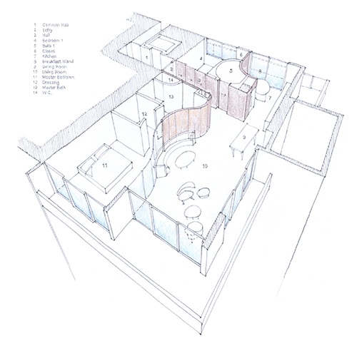 Hand sketching over a computer-generated line drawing is useful for exploring things like interior wall and furniture placement, and can help clients visualize alternatives. Image: Mark English Architects