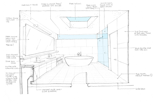 A one-point perspective bathroom sketch. Note that the in-swing of the door is shown as if on a floor plan. Image: Mark English Architects