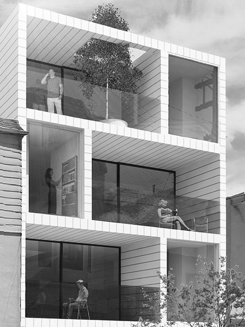 On this visualization of a new project at 2740 McAllister in San Francisco, Stanley Saitowitz uses generous overhangs, recessed window walls, and vertical side fins to allow a mix of shade and sun.