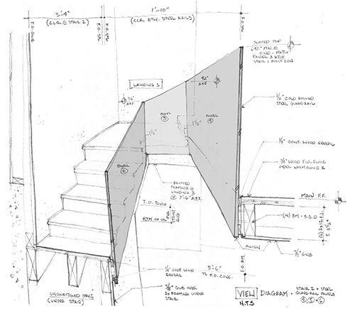 Ascent from the basement to the main floor. In this portion of the stair, the stair treads are wood, with risers. Sketch diagrams of the steel rail panels for the stair helped the architect to understand how transitions between panels, edge of stair, and edge of floor could occur. These early hand-drawn studies developed ideas for possible detailing. Image: Mark English Architects