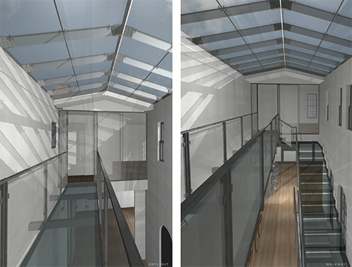 Initial design proposal, close-up of central circulation under the central skylight. Note the glass floor on the raised walkway and stair treads. Image: Mark English Architects