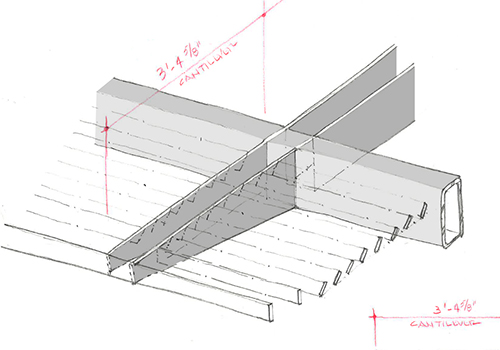 Individual slats fit into the support struts. Note the outer two slats are upright, and the remainder are set at an angle. Image: Mark English Architects