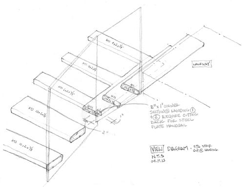 Cantilevered Steel Stair Sketch